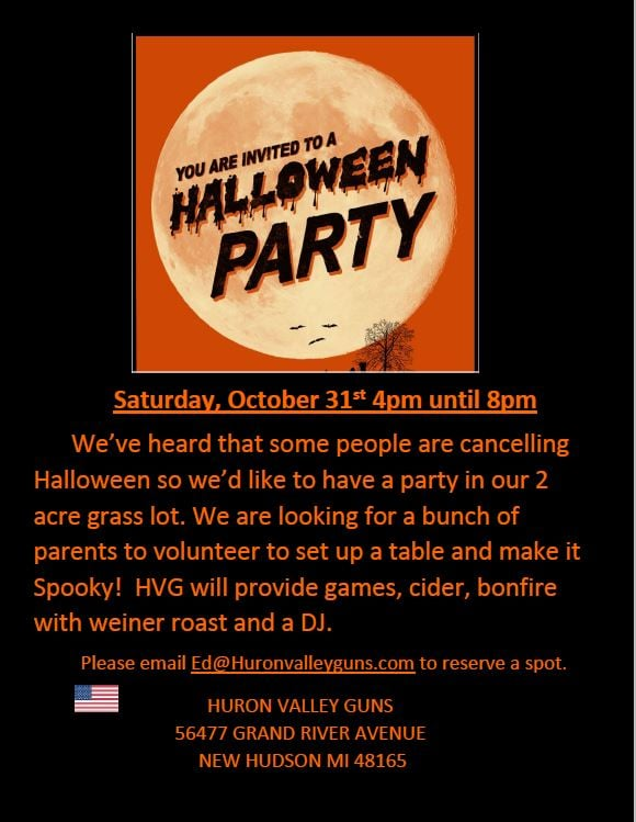 Halloween Partys This Friday 11-2-2020 Huron Valley Guns |